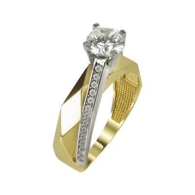 Δίχρωμο Χρυσό Μονόπετρο Δαχτυλίδι Κ14 DX98099