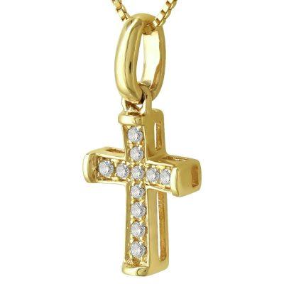 Γυναικείος Σταυρός Σε Κίτρινο Χρυσό 18 Καρατίων Mε Διαμάντια Brilliant ST91692