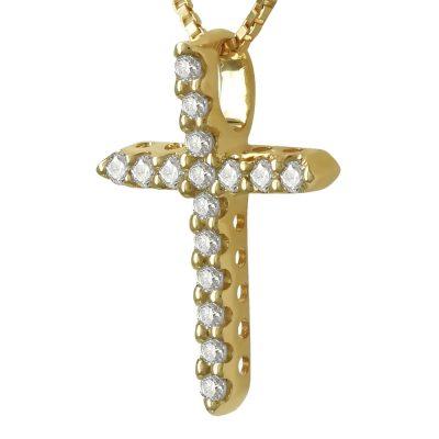 Γυναικείος Σταυρός Σε Κίτρινο Χρυσό 18 Καρατίων Mε Διαμάντια Brilliant ST91737