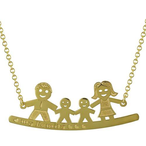 Κίτρινο Χρυσό Κολιέ My Family Κ14 KL686