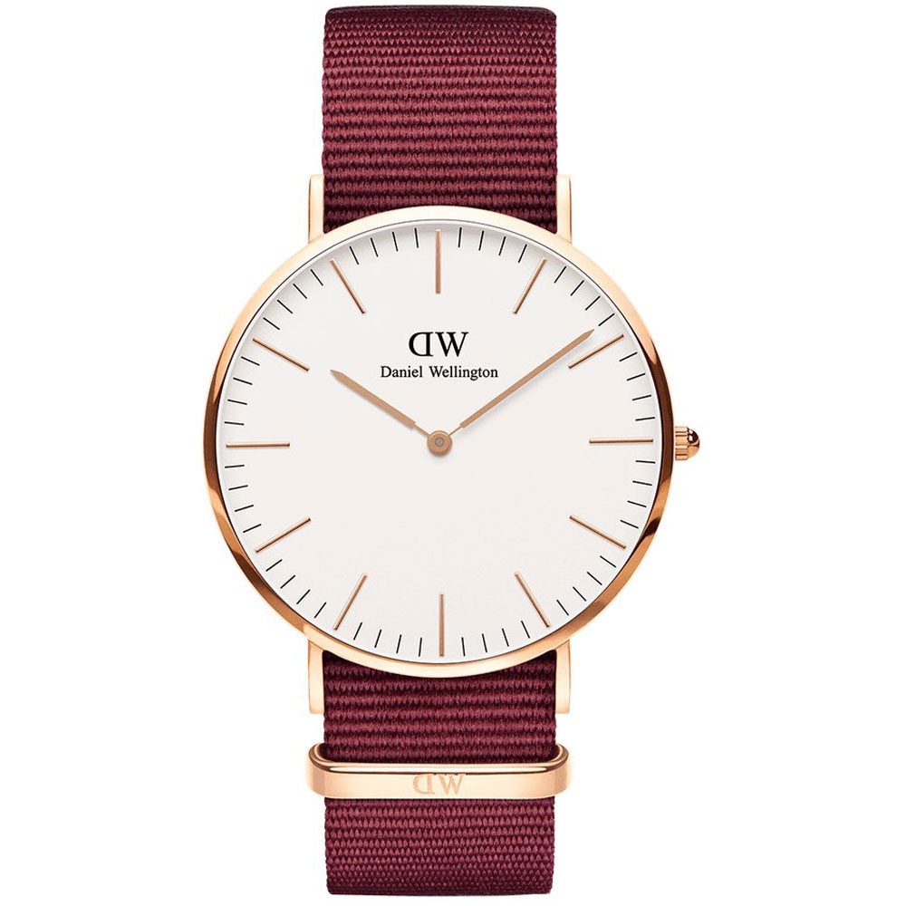DANIEL WELLINGTON Classic Roselyn 40mm Rose Gold Red Fabric Strap DW00100267