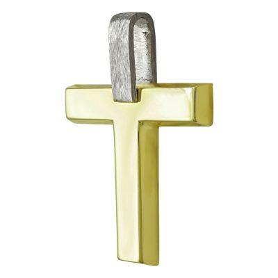 Σταυρός Βάπτισης Ανδρικός Σε Δίχρωμο Χρυσό 14 Καρατίων ST2444