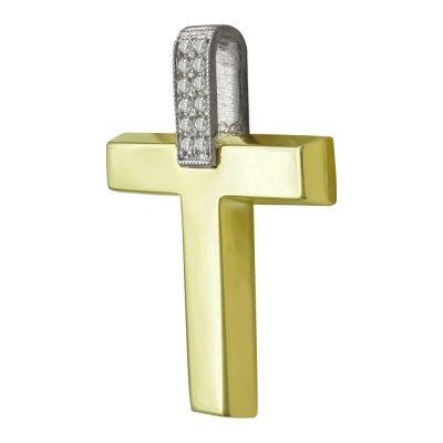 Σταυρός Βάπτισης Γυναικείος Σε Δίχρωμο Χρυσό 14 Καρατίων Με Πέτρες ST2440