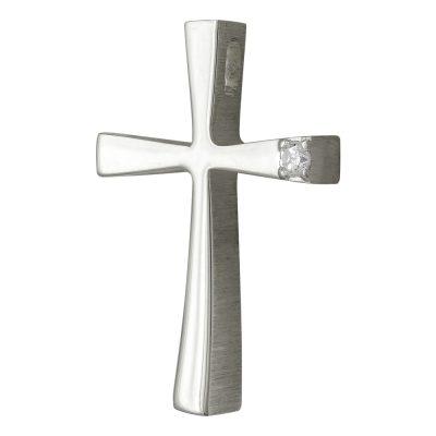 Σταυρός Βάπτισης Γυναικείος Σε Λευκόχρυσο 14 Καρατίων Με Πέτρες ST2470