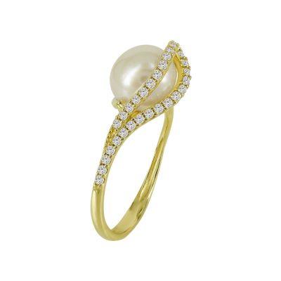 Κίτρινο Χρυσό Δαχτυλίδι Με Μαργαριτάρι Κ14 DX94163