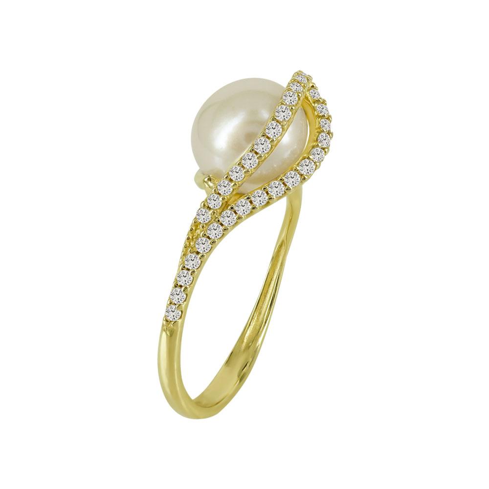 Κίτρινο Χρυσό Μονόπετρο Δαχτυλίδι Με Μαργαριτάρι Κ14 DX94163