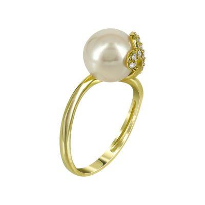 Κίτρινο Χρυσό Δαχτυλίδι Με Μαργαριτάρι Κ14 DX94190