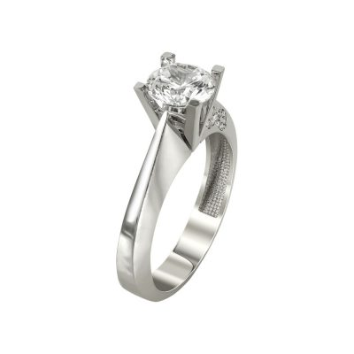 Λευκόχρυσο Μονόπετρο Δαχτυλίδι Κ14 DX98056