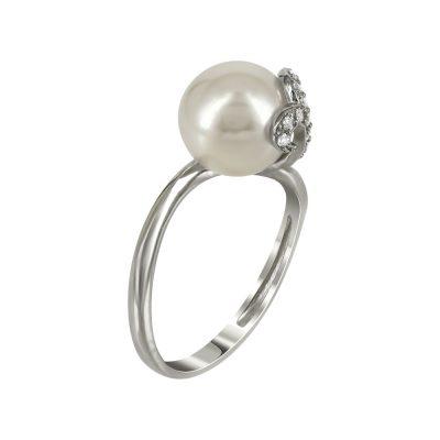 Λευκόχρυσο Μονόπετρο Δαχτυλίδι Με Μαργαριτάρι Κ14 DX94191
