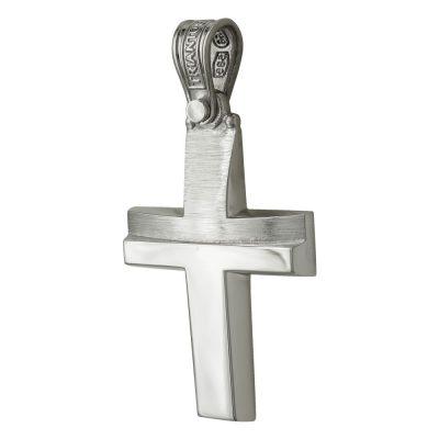 Σταυρός Βάπτισης Ανδρικός Σε Λευκόχρυσο 14 Καρατίων ST2446