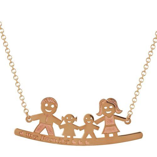 Ροζ Χρυσό Κολιέ My Family K14 KL690