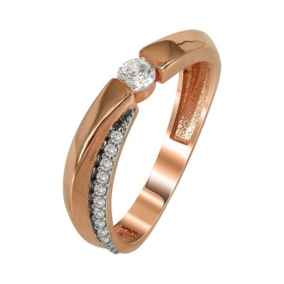 Ροζ Χρυσό Μονόπετρο Δαχτυλίδι Κ14 DX91091