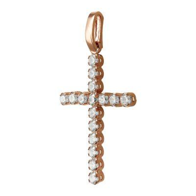 Σταυρός Βάπτισης Γυναικείος Σε Ροζ Χρυσό 14 Καρατίων Με Πέτρες ST2463