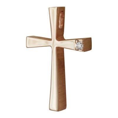 Σταυρός Βάπτισης Γυναικείος Σε Ροζ Χρυσό 14 Καρατίων Με Πέτρες ST2438