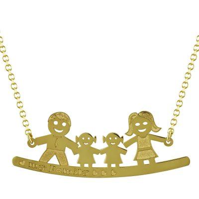 Κίτρινο Χρυσό Κολιέ My Family Κ14 KL687