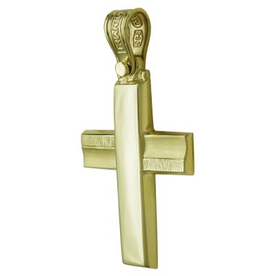 Σταυρός Βάπτισης Ανδρικός Σε Κίτρινο Χρυσό 14 Καρατίων ST2450