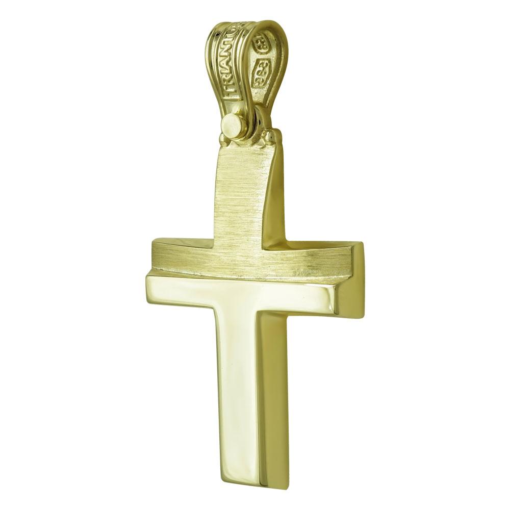 Σταυρός Βάπτισης Ανδρικός Σε Κίτρινο Χρυσό 14 Καρατίων ST2447