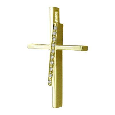 Σταυρός Βάπτισης Γυναικείος Σε Κίτρινο Χρυσό 14 Καρατίων Με Πέτρες ST2462