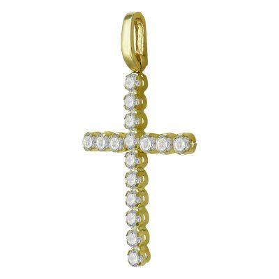 Σταυρός Βάπτισης Γυναικείος Σε Κίτρινο Χρυσό 14 Καρατίων Με Πέτρες ST2465