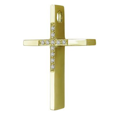 Σταυρός Βάπτισης Γυναικείος Σε Κίτρινο Χρυσό 14 Καρατίων Με Πέτρες ST2468