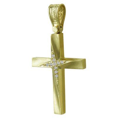 Σταυρός Βάπτισης Γυναικείος Σε Kίτρινο Χρυσό 14 Καρατίων Με Πέτρες ST2442