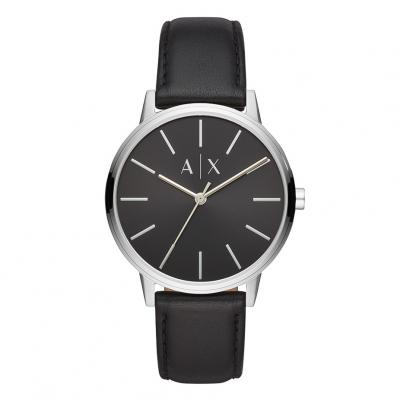 ARMANI EXCHANGE Cayde Three Hands 42mm Silver Stainless Steel Leather Strap AX2703