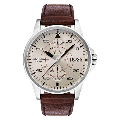 HUGO BOSS Aviator Brown Leather Strap 1513516