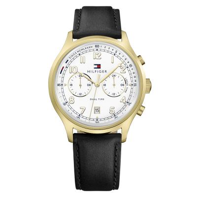 Tommy HILFIGER Emerson Dual Time Black Leather Strap 1791386