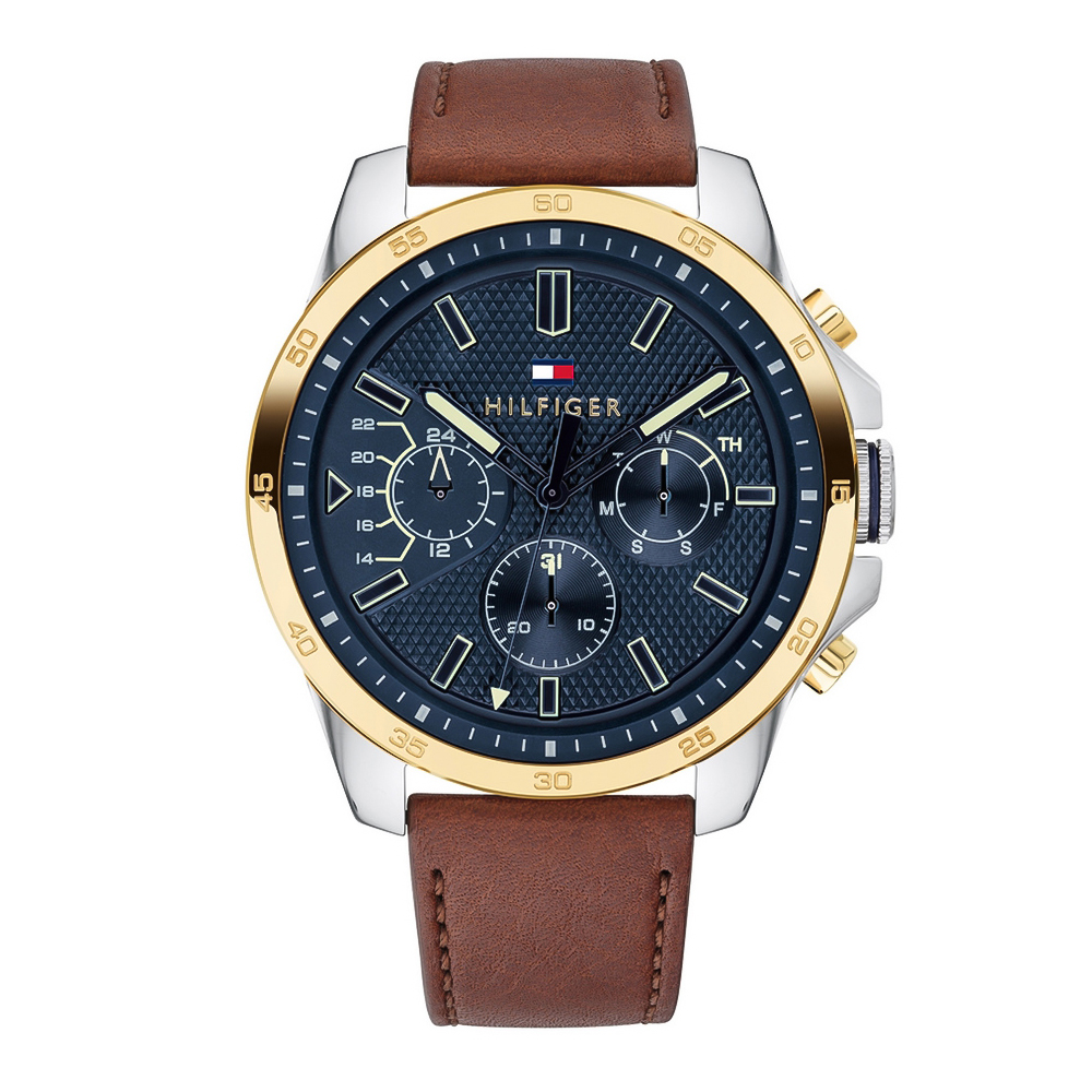Tommy HILFIGER Decker Multifunction Brown Leather Strap 1791561