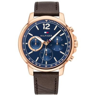 Tommy Hilfiger Rose Gold Brown Leather Strap 1791532