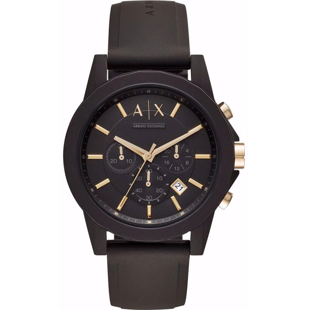 a9c96a85c7 ARMANI EXCHANGE Outerbanks Black Rubber Chronograph AX7105