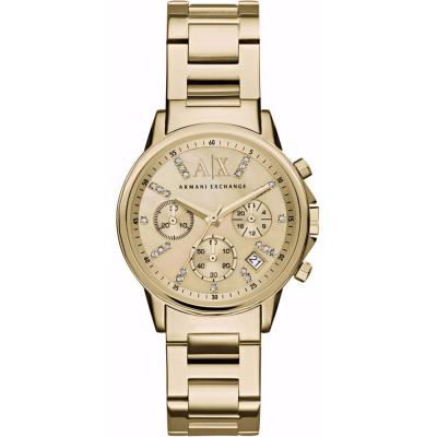 ARMANI EXCHANGE Banks Crystals Gold Stainless Steel Chronograph AX4327