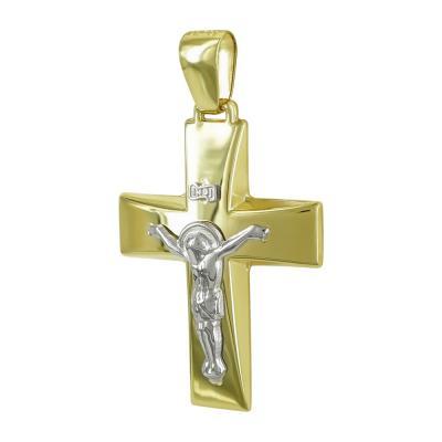 Σταυρός Βάπτισης Ανδρικός Σε Δίχρωμο Χρυσό Κ14 Καρατίων ST2475