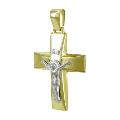 Σταυρός Βάπτισης Ανδρικός Σε Δίχρωμο Χρυσό K9 Καρατίων ST2483