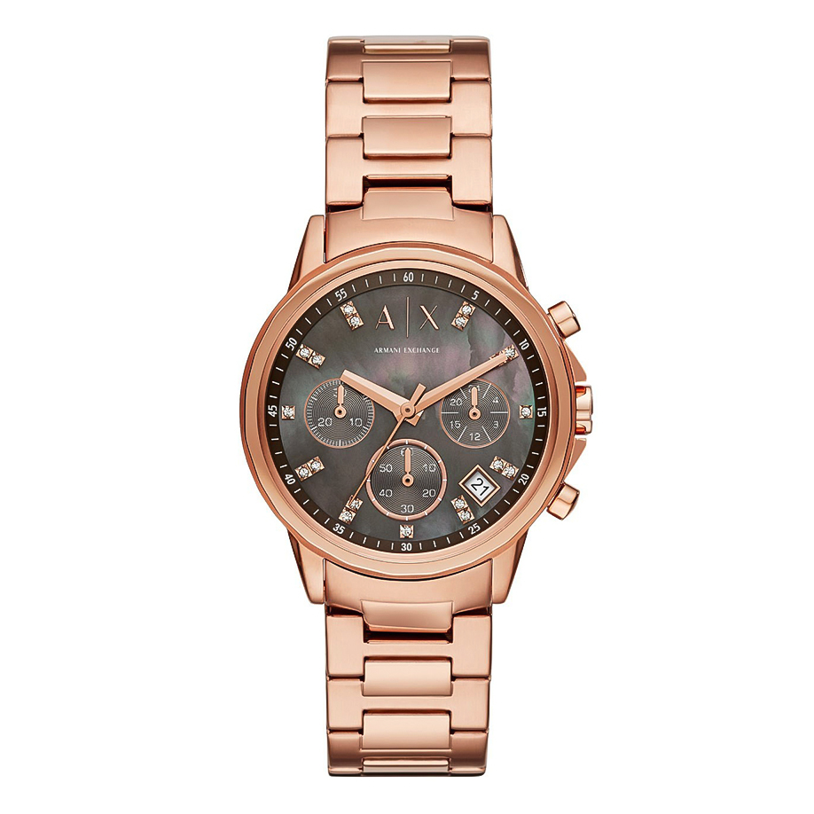 ARMANI EXCHANGE Banks Crystals Rose Gold Stainless Steel Chronograph AX4354