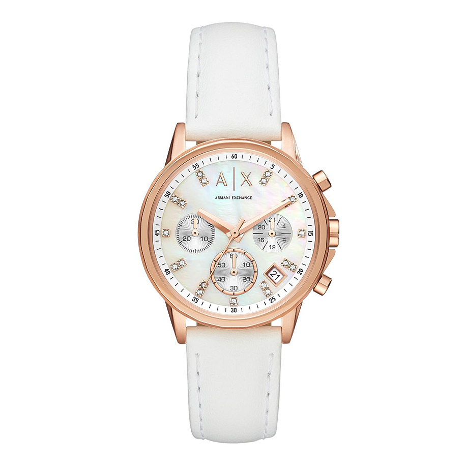 ARMANI EXCHANGE Banks Crystals Rose Gold White Rubber Chronograph AX4364