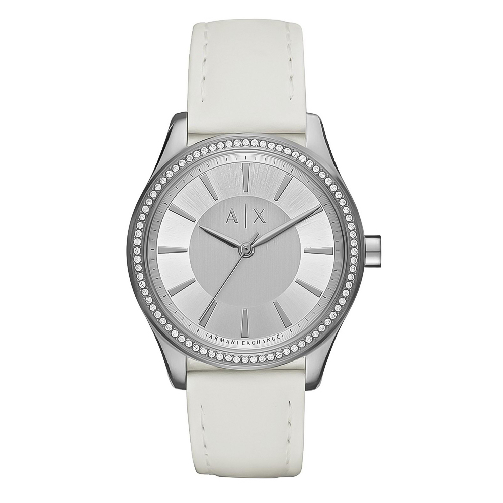 ARMANI EXCHANGE Nicolette Crystals White Leather Strap AX5445