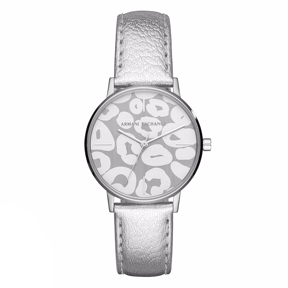 ARMANI EXCHANGE Ladies Grey Leather Strap AX5539