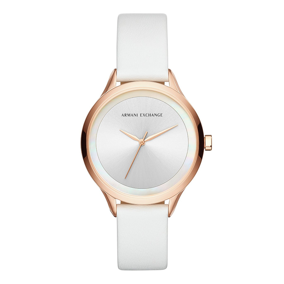 ARMANI EXCHANGE Harper Rose Gold White Leather Strap AX5604