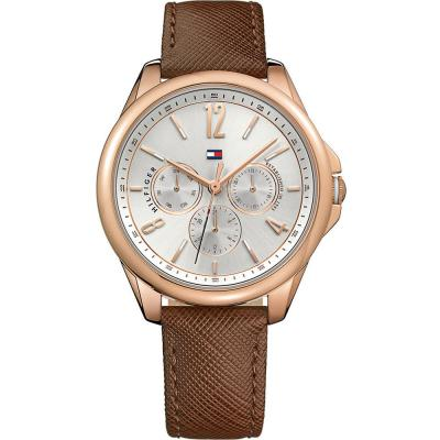 Tommy HILFIGER Savannah Multifunction Rose Gold Brown Leather Strap 1781823
