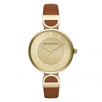 ARMANI EXCHANGE Ladies Brown Leather Strap AX5324
