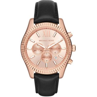 MICHAEL KORS Lexington Rose Gold Black Leather Strap MK8516