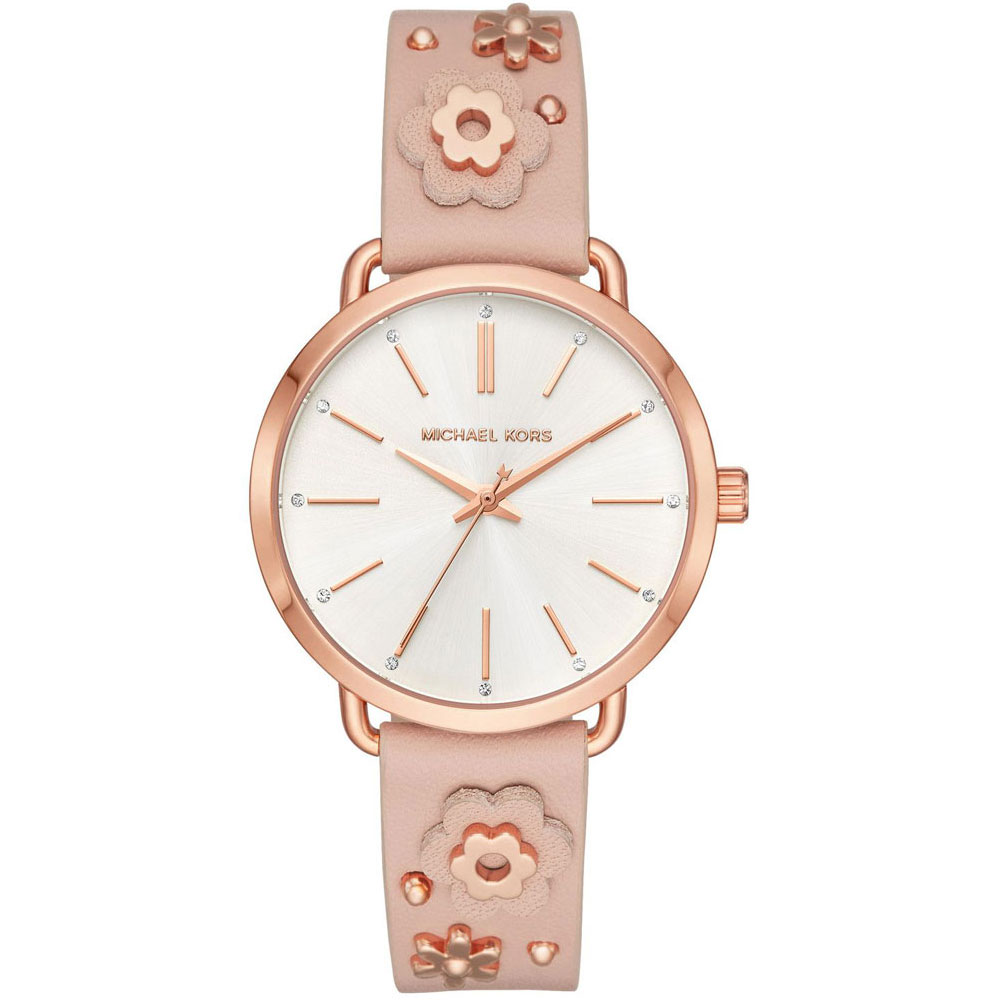 MICHAEL KORS Portia Crystals Rose Gold Pink Leather Strap MK2738