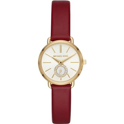 MICHAEL KORS Portia Crystals Gold Red Leather Strap MK2751 8c74cfccba1