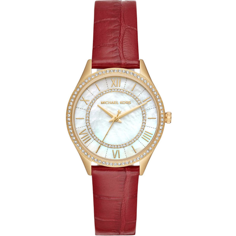MICHAEL KORS Lauryn Crystals Gold Red Leather Strap MK2756