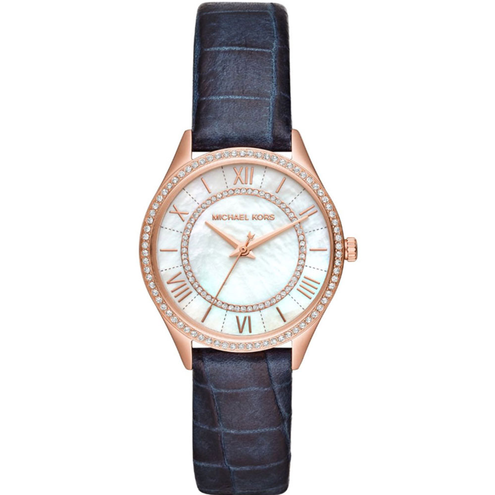 MICHAEL KORS Lauryn Crystals Rose Gold Blue Leather Strap MK2757