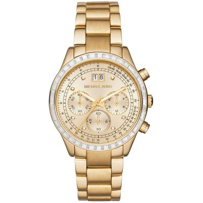 MICHAEL KORS Brinkley Crystals Gold Stainless Steel Chronograph MK6187