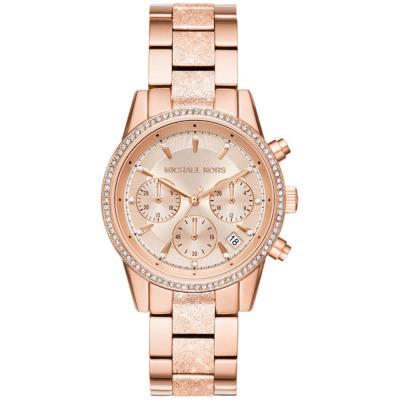 MICHAEL KORS Ritz Crystals Rose Gold Stainless Steel Chronograph MK6598