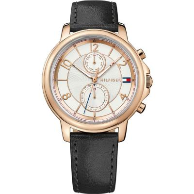 Tommy HILFIGER Claudia Multifunction Rose Gold Black Leather Strap 1781817
