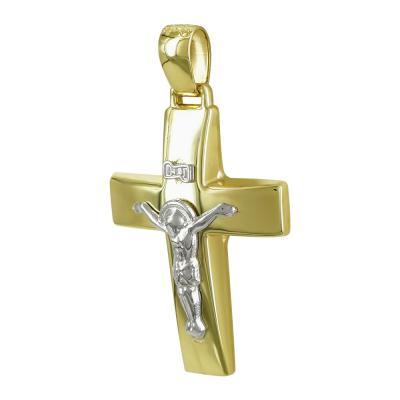 Σταυρός Βάπτισης Ανδρικός Σε Δίχρωμο Χρυσό Κ14 Καρατίων ST2479